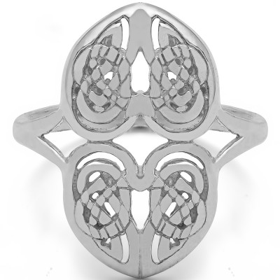 Sterling Silver Celtic Double Heart Ring Size 4.5
