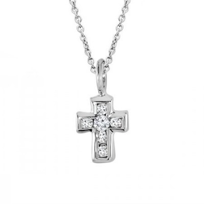 Diamond Mini Cross in 14k White Gold with Cable Chain