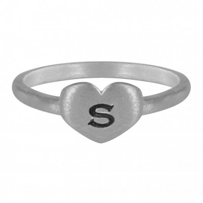 Brushed FInish Heart Shaped Initial Ring