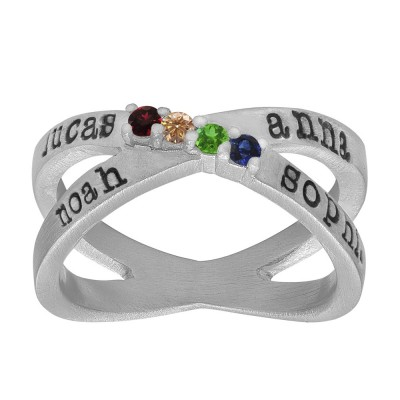Personalized Four Birthstone Name Ring