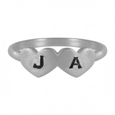 Double Heart Shaped Initial Ring