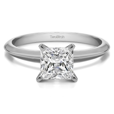 1.25 Carat Four Prong Princess Cubic Zirconia Solitaire Engagement Ring With Cubic Zirconia Mounted in Sterling Silver (Size 4.25)