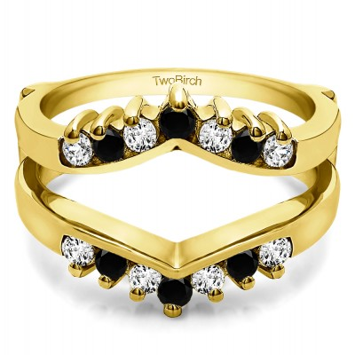 0.42 Ct. Black and White Stone Prong Set Round Chevron Ring Guard in Yellow Gold