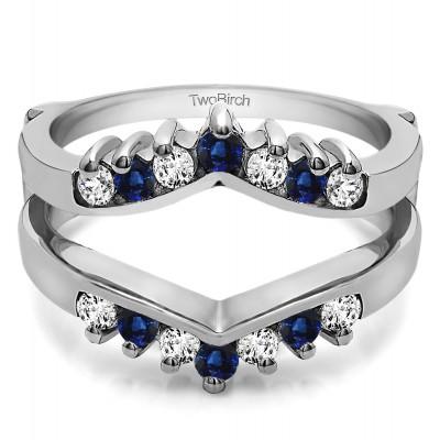 0.42 Ct. Sapphire and Diamond Prong Set Round Chevron Ring Guard