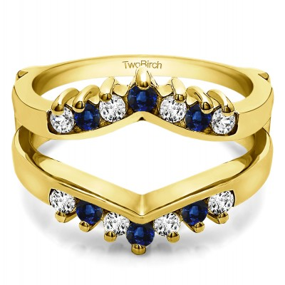0.42 Ct. Sapphire and Diamond Prong Set Round Chevron Ring Guard in Yellow Gold