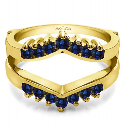 0.42 Ct. Sapphire Prong Set Round Chevron Ring Guard in Yellow Gold
