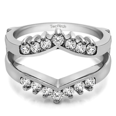 TwoBirch 0.42 Ct. Prong Set Round Chevron Ring Guard in Sterling Silver with Diamonds (G,I2) (Size 7)