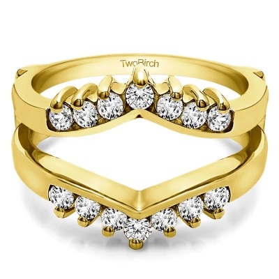 0.42 Ct. Prong Set Round Chevron Ring Guard in Yellow Gold