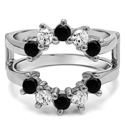 0.2 Ct. Black and White Stone Round Sunburst Halo Ring Guard