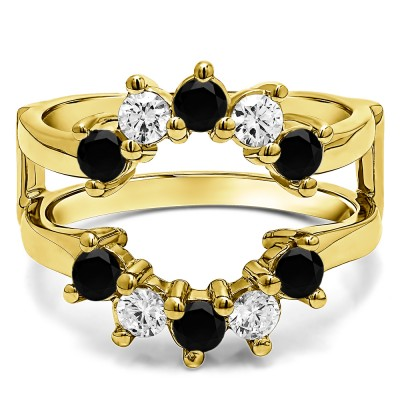 0.2 Ct. Black and White Stone Round Sunburst Halo Ring Guard in Yellow Gold