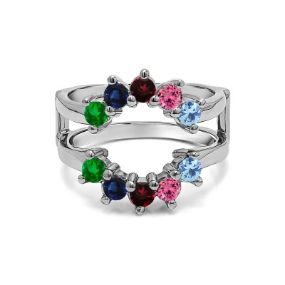 Genuine Birthstone Sunburst Style Ring Guard with Gorgeous Round Stones(0.5 Carat)