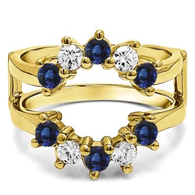 0.2 Ct. Sapphire and Diamond Round Sunburst Halo Ring Guard in Yellow Gold