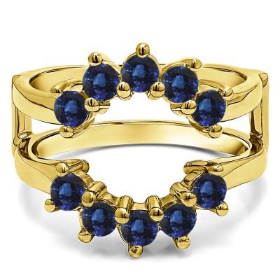 0.2 Ct. Sapphire Round Sunburst Halo Ring Guard in Yellow Gold