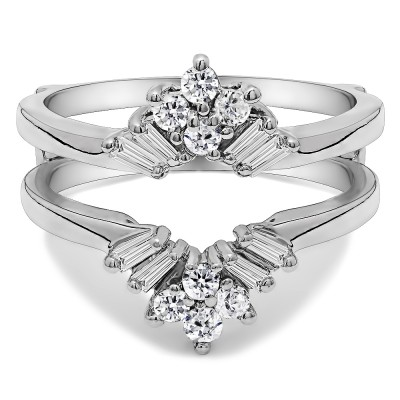 0.27 Ct. V Shaped Round and Tapered Baguette Ring Guard
