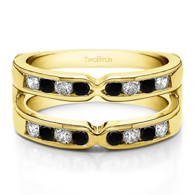 0.26 Ct. Black and White Stone Round X Design Channel Set Ring Guard in Yellow Gold