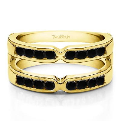 0.26 Ct. Black Stone Round X Design Channel Set Ring Guard in Yellow Gold