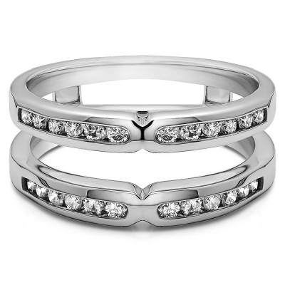0.26 Ct. Round X Design Channel Set Ring Guard With Cubic Zirconia Mounted in Sterling Silver (Size 6.75)