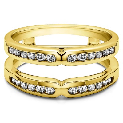 0.26 Ct. Round X Design Channel Set Ring Guard in Yellow Gold