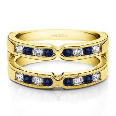 0.26 Ct. Sapphire and Diamond Round X Design Channel Set Ring Guard in Yellow Gold
