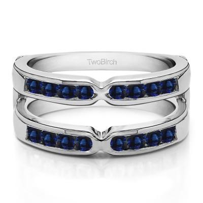 0.26 Ct. Sapphire Round X Design Channel Set Ring Guard