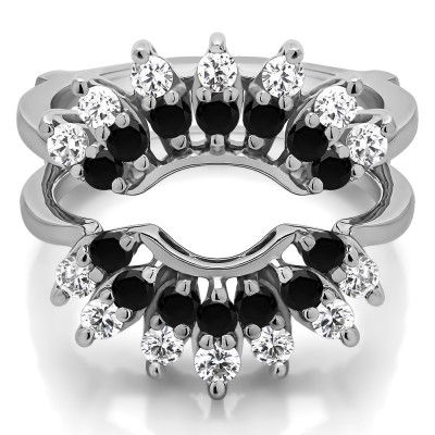 0.98 Ct. Black and White Stone Double Row Halo Sunburst Ring Guard