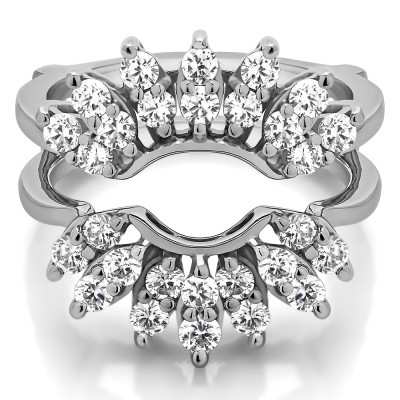0.98 Ct. Double Row Halo Sunburst Ring Guard With Cubic Zirconia Mounted in Sterling Silver.(Size 7)