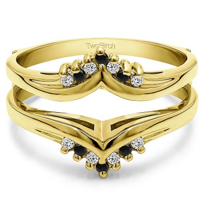 0.25 Ct. Black and White Stone Round Prong Set Chevron Ring Guard in Yellow Gold