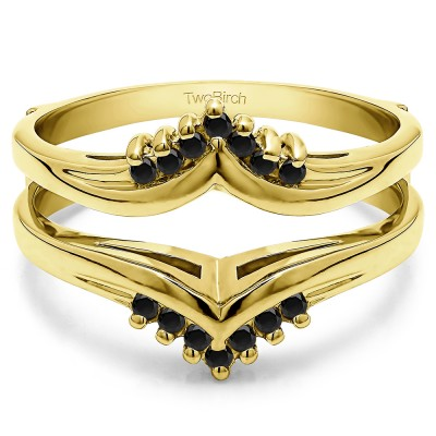 0.25 Ct. Black Stone Round Prong Set Chevron Ring Guard in Yellow Gold