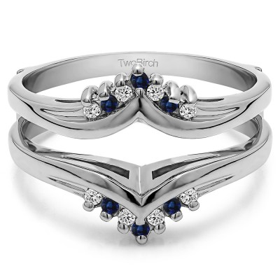 0.25 Ct. Sapphire and Diamond Round Prong Set Chevron Ring Guard