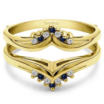 0.25 Ct. Sapphire and Diamond Round Prong Set Chevron Ring Guard in Yellow Gold
