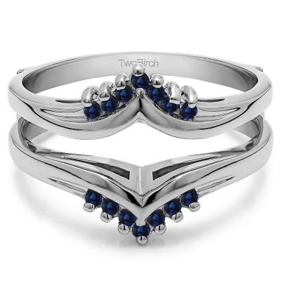 0.25 Ct. Sapphire Round Prong Set Chevron Ring Guard