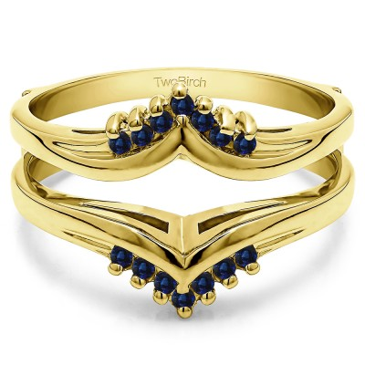 0.25 Ct. Sapphire Round Prong Set Chevron Ring Guard in Yellow Gold