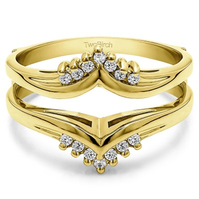 0.25 Ct. Round Prong Set Chevron Ring Guard in Yellow Gold