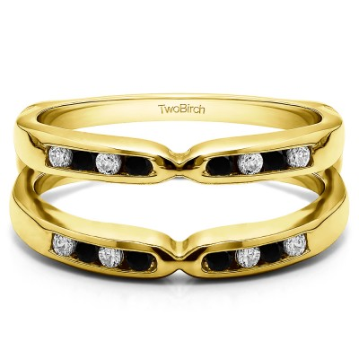 0.24 Ct. Black and White Stone Round Channel Set Pinched Center ring guard in Yellow Gold