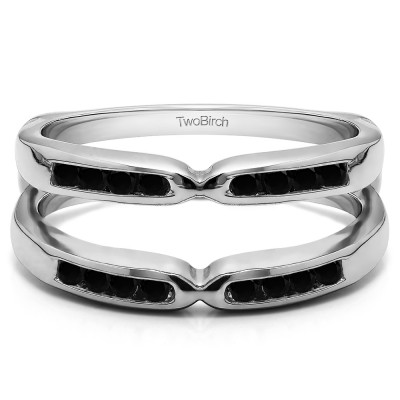 0.24 Ct. Black Stone Round Channel Set Pinched Center ring guard