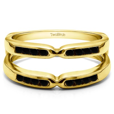 0.24 Ct. Black Stone Round Channel Set Pinched Center ring guard in Yellow Gold