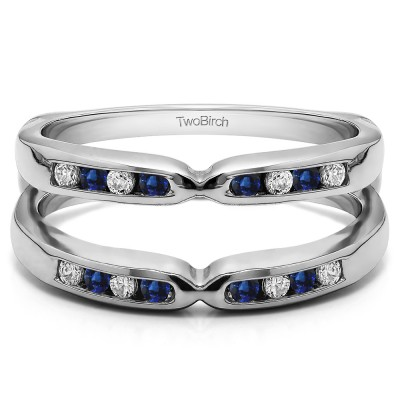 0.24 Ct. Sapphire and Diamond Round Channel Set Pinched Center ring guard