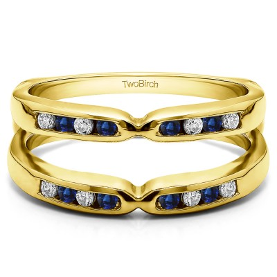 0.24 Ct. Sapphire and Diamond Round Channel Set Pinched Center ring guard in Yellow Gold