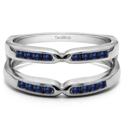 0.24 Ct. Sapphire Round Channel Set Pinched Center ring guard