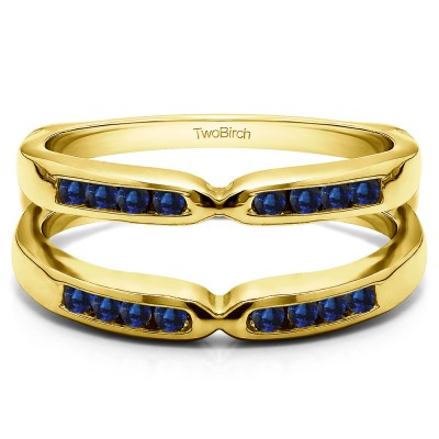 0.24 Ct. Sapphire Round Channel Set Pinched Center ring guard in Yellow Gold