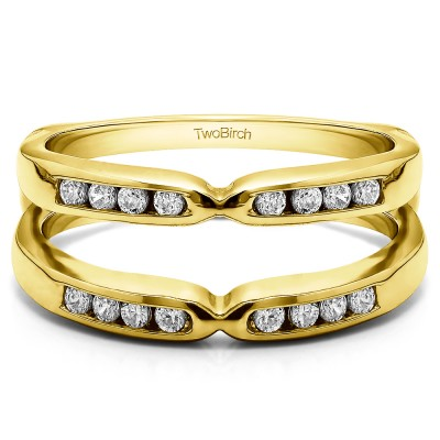 0.24 Ct. Round Channel Set Pinched Center ring guard in Yellow Gold