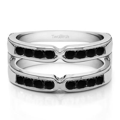 0.48 Ct. Black Stone X Design Channel Set Ring Jacket