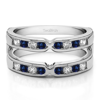 0.48 Ct. Sapphire and Diamond X Design Channel Set Ring Jacket
