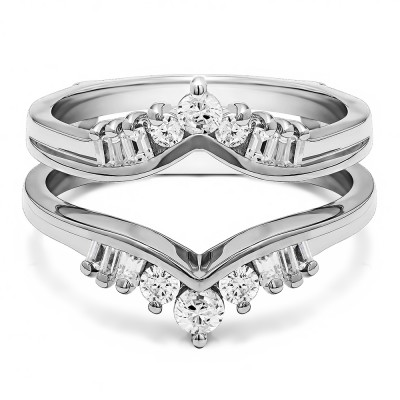 0.48 Ct. Baguette and Round Chevron ring guard