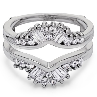 0.77 Ct. Round and Baguette Prong Set Ring Chevron Guard
