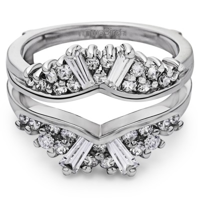 0.73 Ct. Baguette and Round Chevron Fan Ring Guard