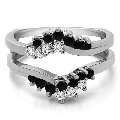 0.66 Ct. Black and White Stone Bypass Chevron Ring Guard Enhancer