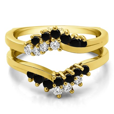 0.66 Ct. Black and White Stone Bypass Chevron Ring Guard Enhancer in Yellow Gold