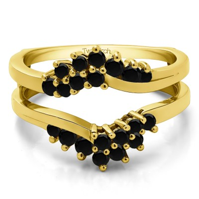 0.66 Ct. Black Stone Bypass Chevron Ring Guard Enhancer in Yellow Gold