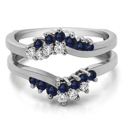 0.66 Ct. Sapphire and Diamond Bypass Chevron Ring Guard Enhancer